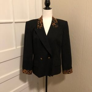 Vintage Animal Print Button Front Blazer